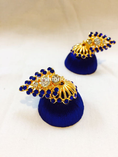 Ink Blue Stone Studded Leaf Silk Thread Jhumkas-STJH-029