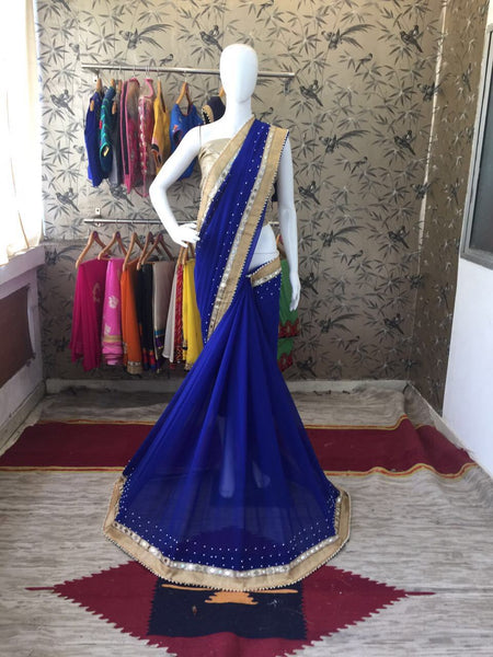 Ink Blue and Beige Border and Blouse Georgette Designer Saree-SRE-086