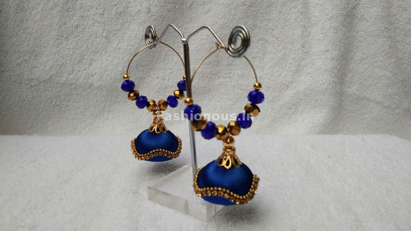 Ink Blue and Golden Beaded Silk Thread Jhumkas-STJH-067