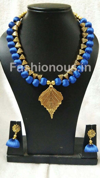 Ink Blue with Golden Leaf Pendant Silk Thread Jewellery Set-STJSW-080
