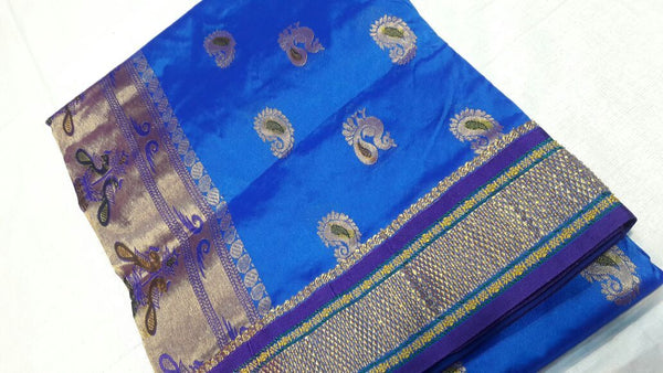 Ink Blue with Golden Zari Paithani Saree-PAITHANI-024
