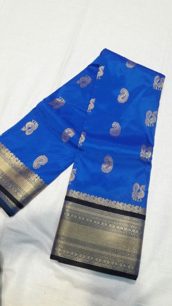 Ink Blue with Peacock Designed Black Border Paithani Saree-PAITHANI-036