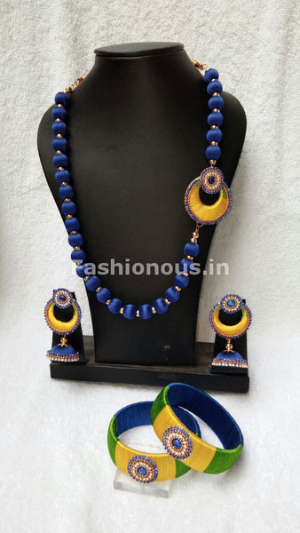 Ink Blue with Yellow Chandbali Pendant Silk Thread Jewellery Set-STJS-020