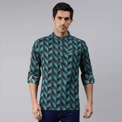 Men's Kurta Teal Blue