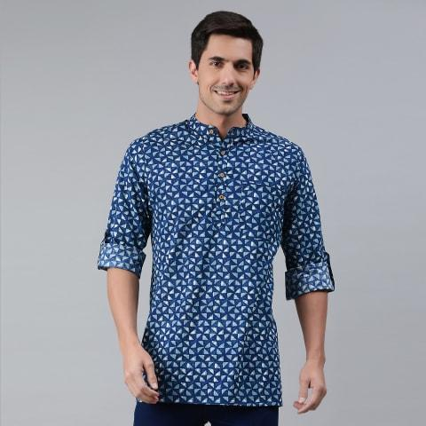 Men's Kurta Aqua Blue