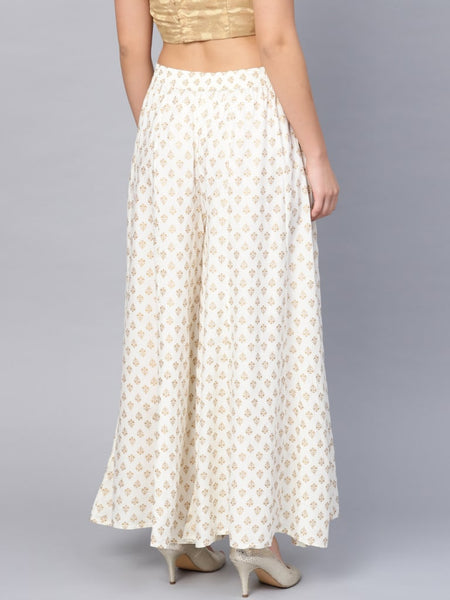 Juniper Off White Rayon Printed Flared Palazzo