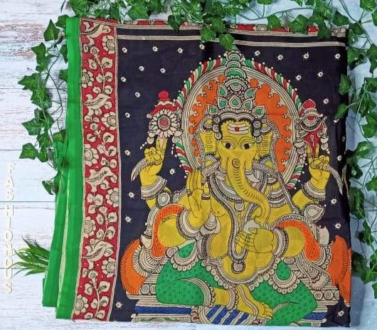 Multicoloured Dual Ganesha Hand-Painted Chennur Silk Kalamkari Saree