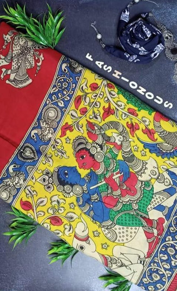Multicoloured Saraswati & Swan Hand-Painted Chennur Silk Kalamkari Saree