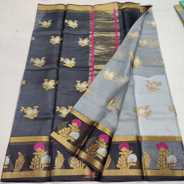 KPS - 010 Kota Pure Silk Weaving Saree Silver and Black Combo