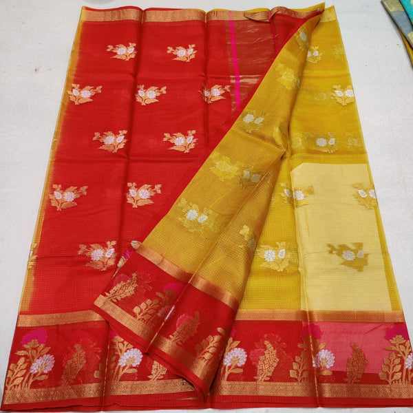 KPS - 011 Kota Pure Silk Weaving Saree Yellow and Red Combo