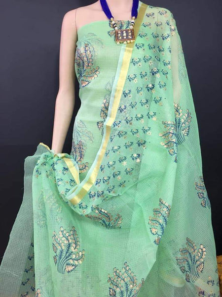 Aquamarine Angel Kota Cotton Golden Printed Dress Material-KCDM013 Light green coloured salwar set