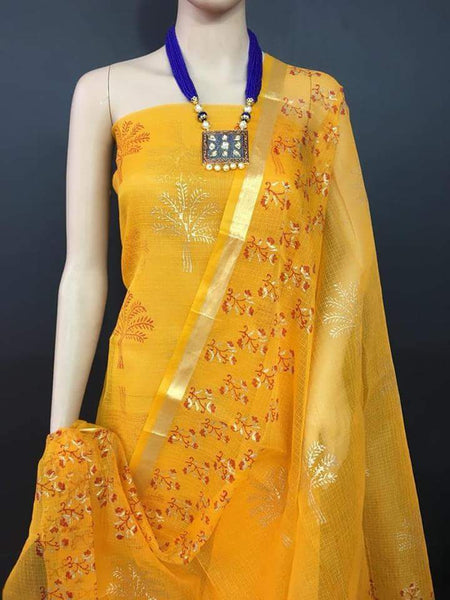 Sunlit Sky Kota Cotton Golden Printed Dress Material-KCDM017 Bright yellow coloured partywear