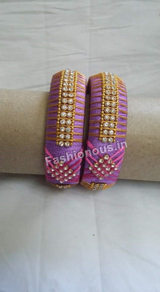 Lavender Stone Studded Silk Thread Bangle Pair