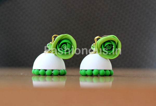Leaf Green Rose Floral White Jhumka-ZAPCJH-025