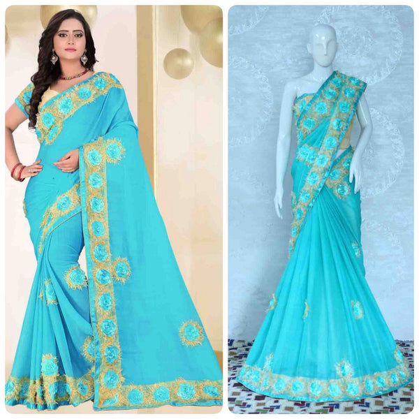 Light Blue Chiffon With Heavy Flower Lace Designer Saree-SRE-1140
