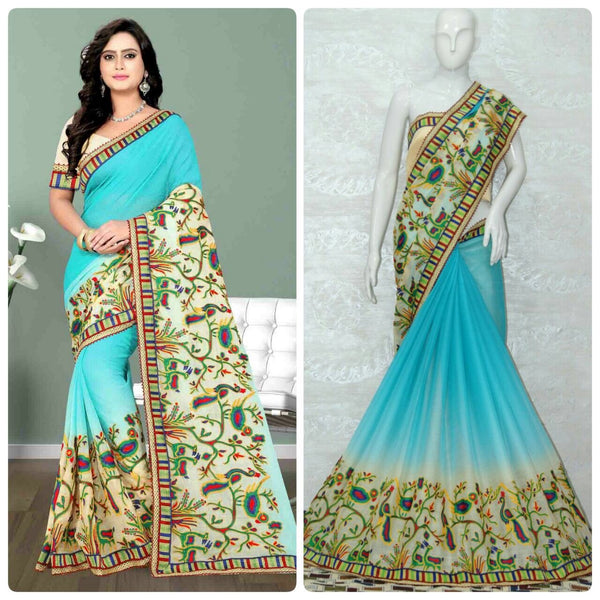 Light Blue Chiffon With Shade Effect Designer Saree-SRE-1136