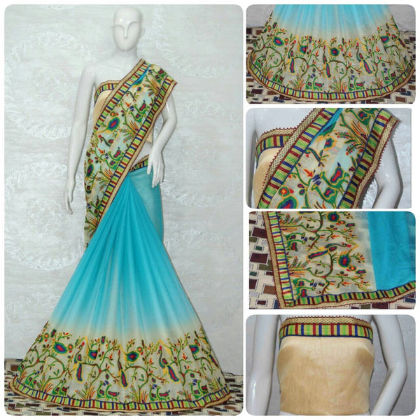Light Blue Chiffon With Shade Effect Designer Saree