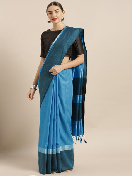 Light Blue and Dark Blue Attractive Big Border Angolla Linen Saree (Blend)