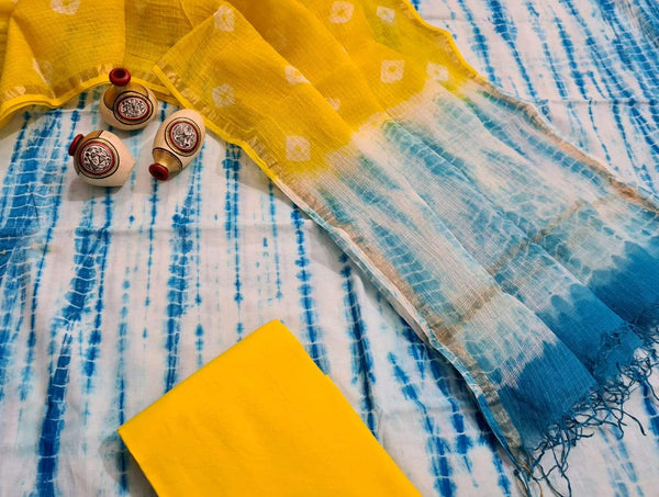 Light Blue and Yellow Handblock Unstitched Printed Cotton Suit