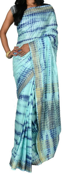 Light Blue with Golden Border Linen Saree-LNSRE-044