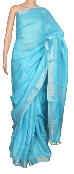 Light Blue with Silver Border Linen Saree-LNSRE-030
