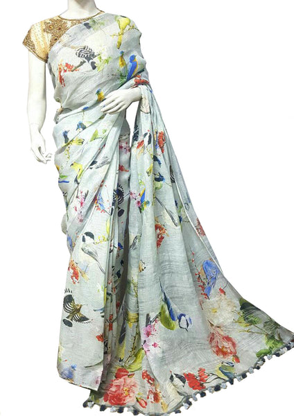 Light Gray with Bird Printed Linen Saree
