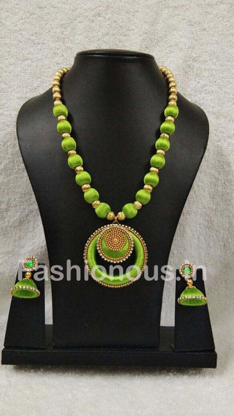 Light Green Chandbali Pendant Silk Thread Jewellery Set-STJSW-087