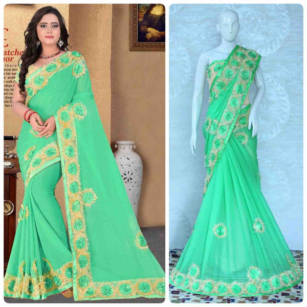 Light Green Chiffon With Heavy Flower Lace Designer Saree-SRE-1143