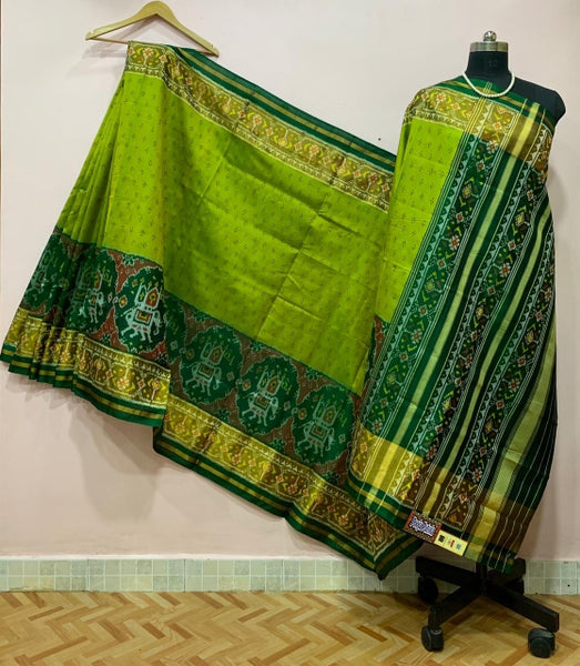 Light Green Elephant Border Motif Patola Silk Saree-PPSRE-050