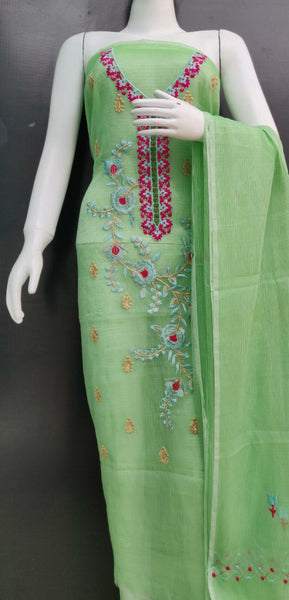 Light Green Floral Embroidered Kota Dress Material