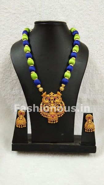 Light Green and Blue Balls with Lakhsmi Pendant Silk Thread Jewellery Set-STJS-030