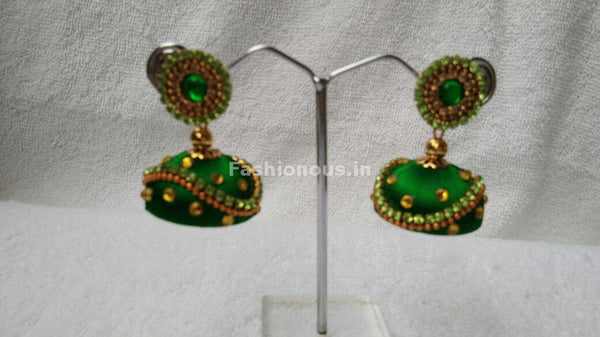 Light Green and Golden Beaded Silk Thread Jhumkas-STJH-068