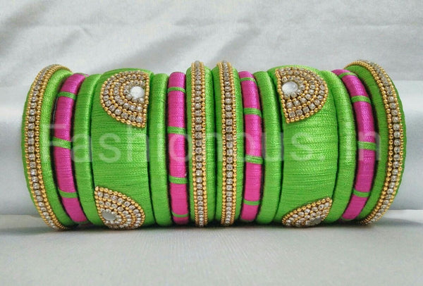 Light Green and Pink Silk Thread Bangle Set-STBS-015