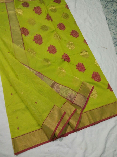 Light Green with Golden and Red Floral Chanderi Silk Saree-CHANSRE-036