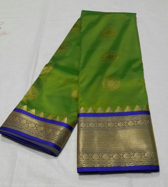 Light Green with Peacock Designed Blue Border Paithani Saree-PAITHANI-043