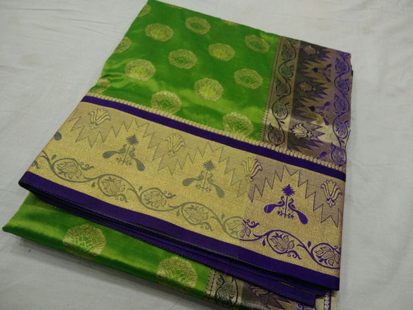 Light Green with Peacock Designed on Golden Zari Border Paithani Saree-PAITHANI-111