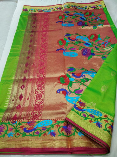 Light Green with Pink Border Peacock Designed Pallu Paithani Saree-PAITHANI-074
