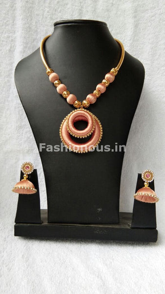 Light Orange Chandbali Pendant Silk Thread Jewellery Set-STJS-009