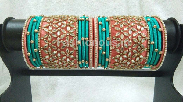 Light Orange and Sky Blue Floral Stone Worked Silk Thread Bangle Set-STJSW-016