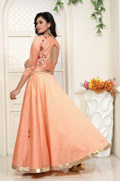 Light Orange with Floral Embroidered SlubCotton Lehenga