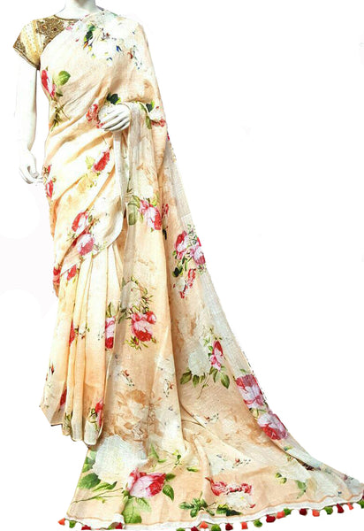 Light Orange with Floral Printed Linen Saree