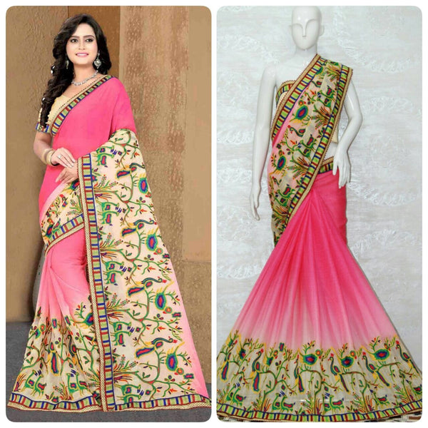 Light Pink Chiffon With Shade Effect Designer Saree-SRE-1137