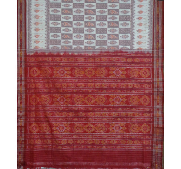 Light Turquoise With Red Pallu Handwoven Cotton Saree