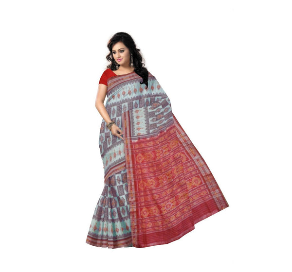 Light Turquoise With Red Pallu Handwoven Cotton Saree-OSS9066