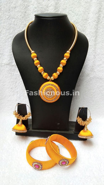 Light Yellow Round Pendant Silk Thread Jewellery Set-STJS-013