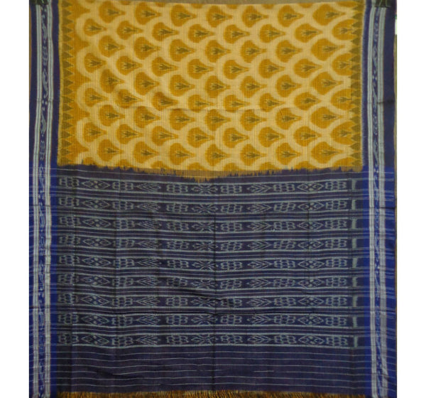 Light Yellow With Ink Blue Pallu Handloom Cotton Sraee