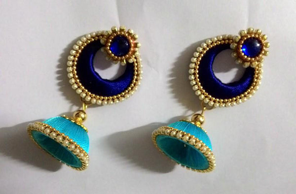 Light blue and Dark blue Silk thread Earrings