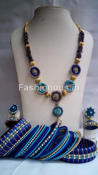 Light Blue and Dark Blue Silk Thread Jewellery Set