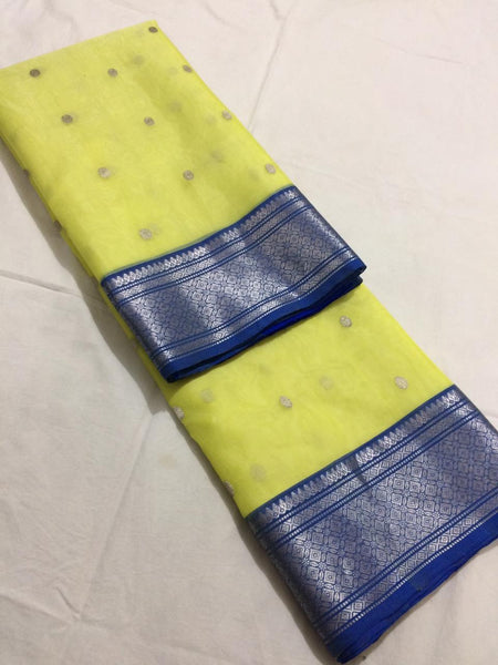 Lime Yellow with Blue Border Pure Katan Silk Saree