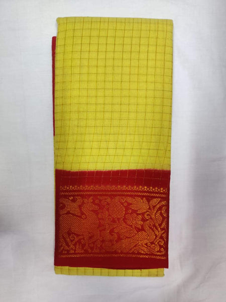 Lime Yellow with Red-Madurai Sungudi Sarees - Double side Jari Border